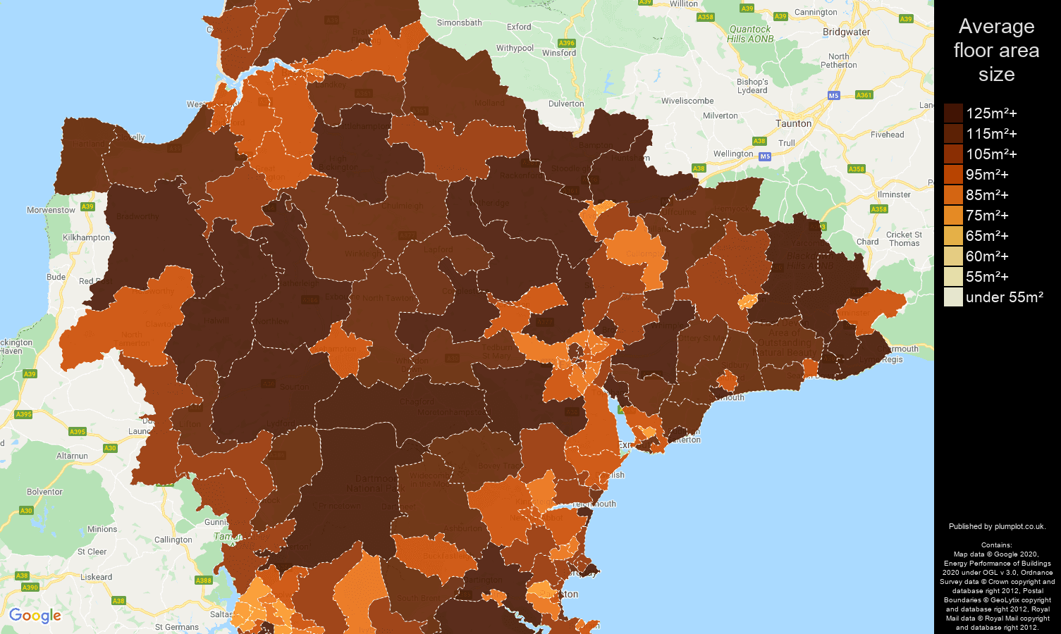 Devon map of average floor area size of houses