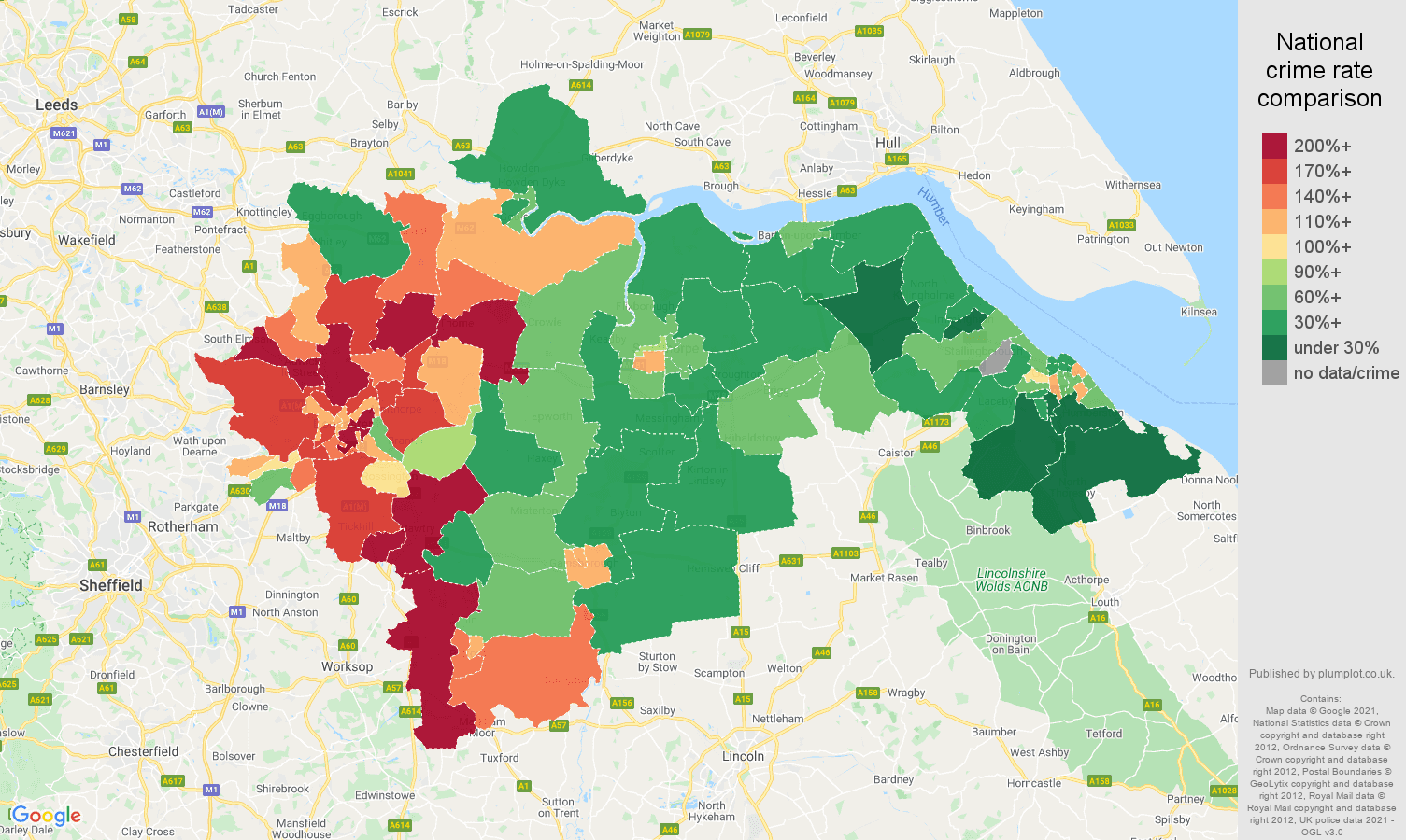 Doncaster vehicle crime rate comparison map