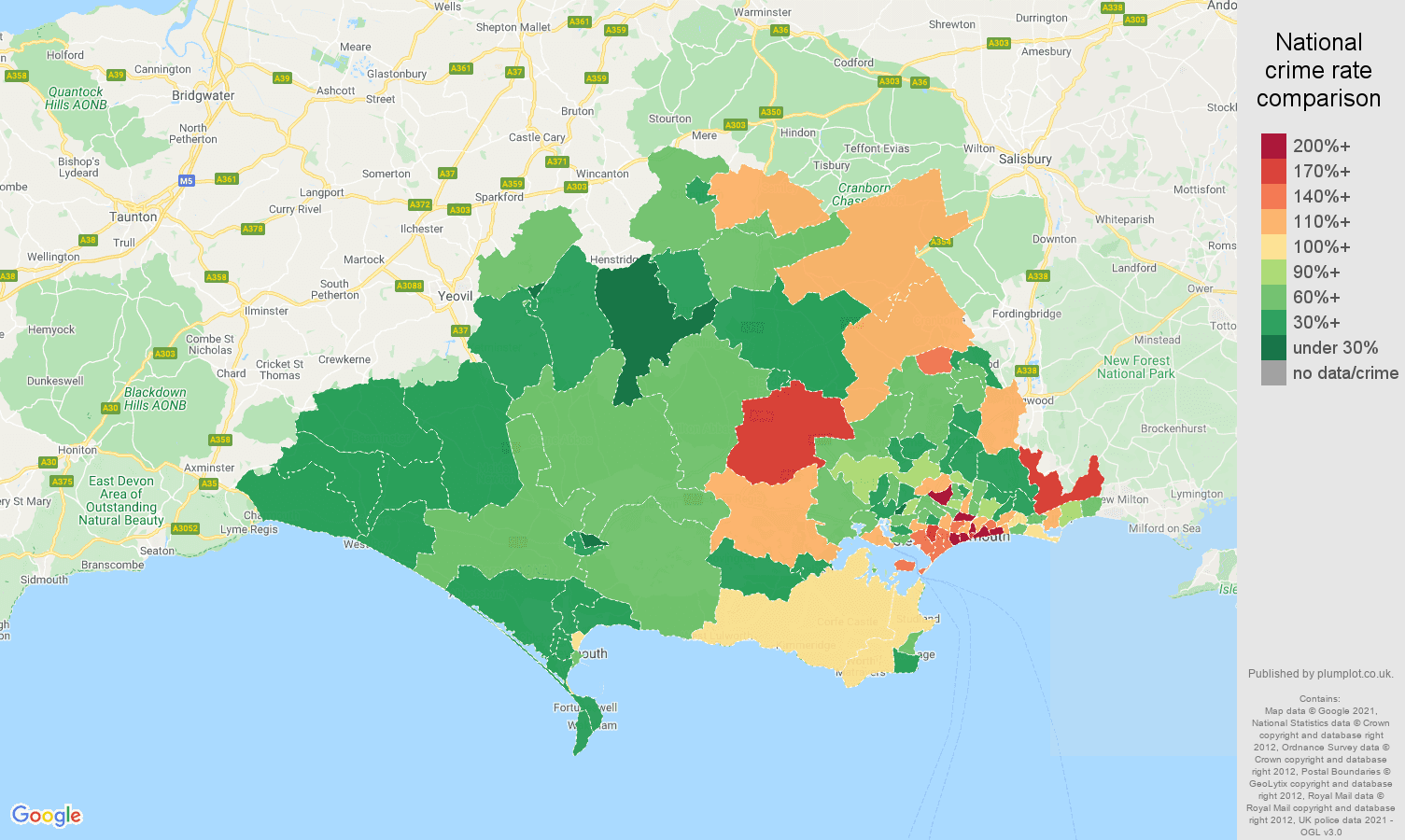 Dorset burglary crime rate comparison map