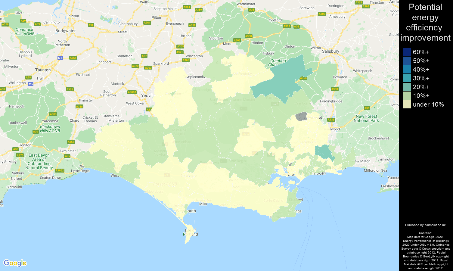 Dorset map of potential energy efficiency improvement of flats