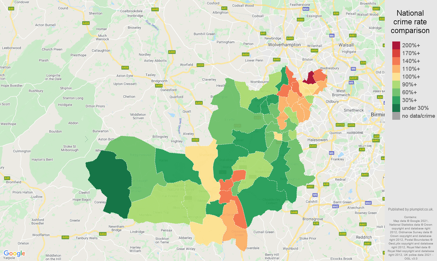 Dudley criminal damage and arson crime rate comparison map