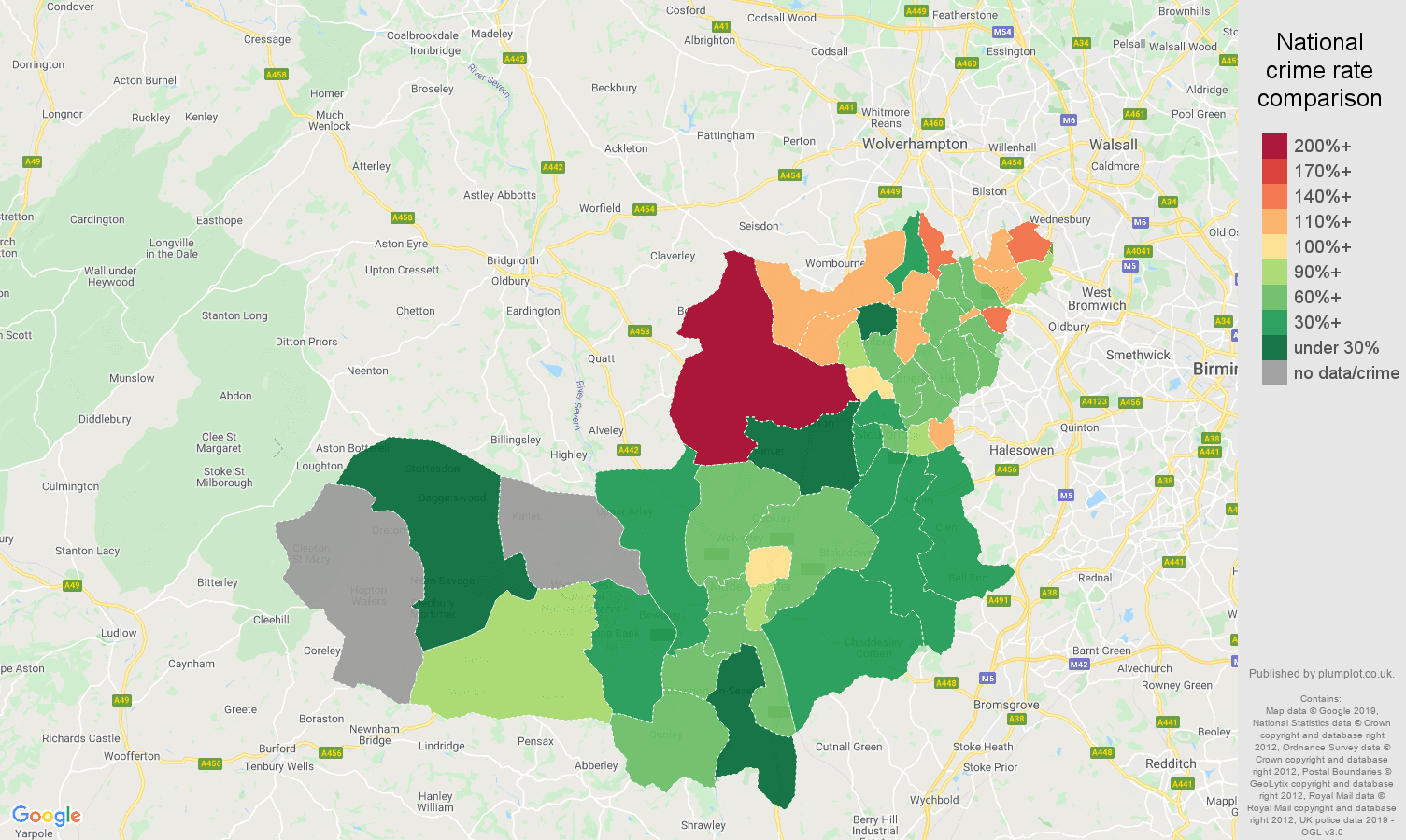 Dudley other crime rate comparison map