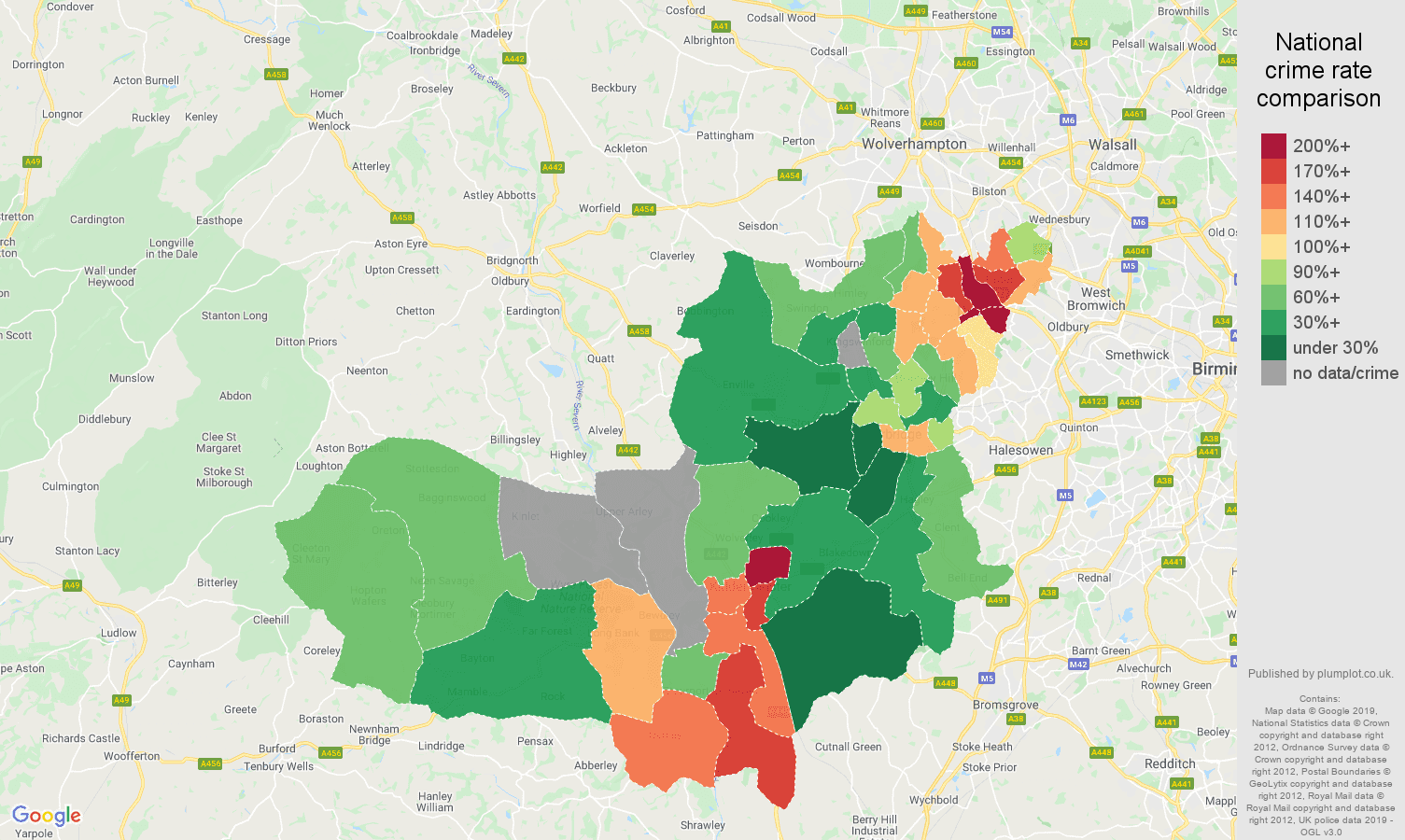 Dudley possession of weapons crime rate comparison map