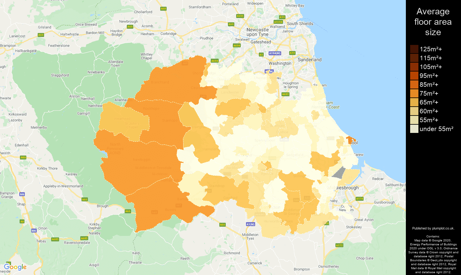Durham county map of average floor area size of flats