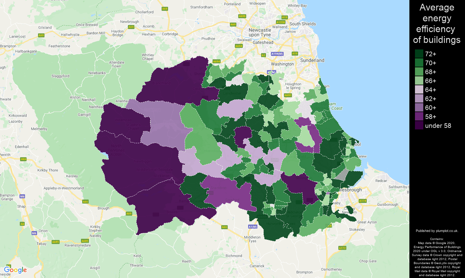 Durham county map of energy efficiency of flats