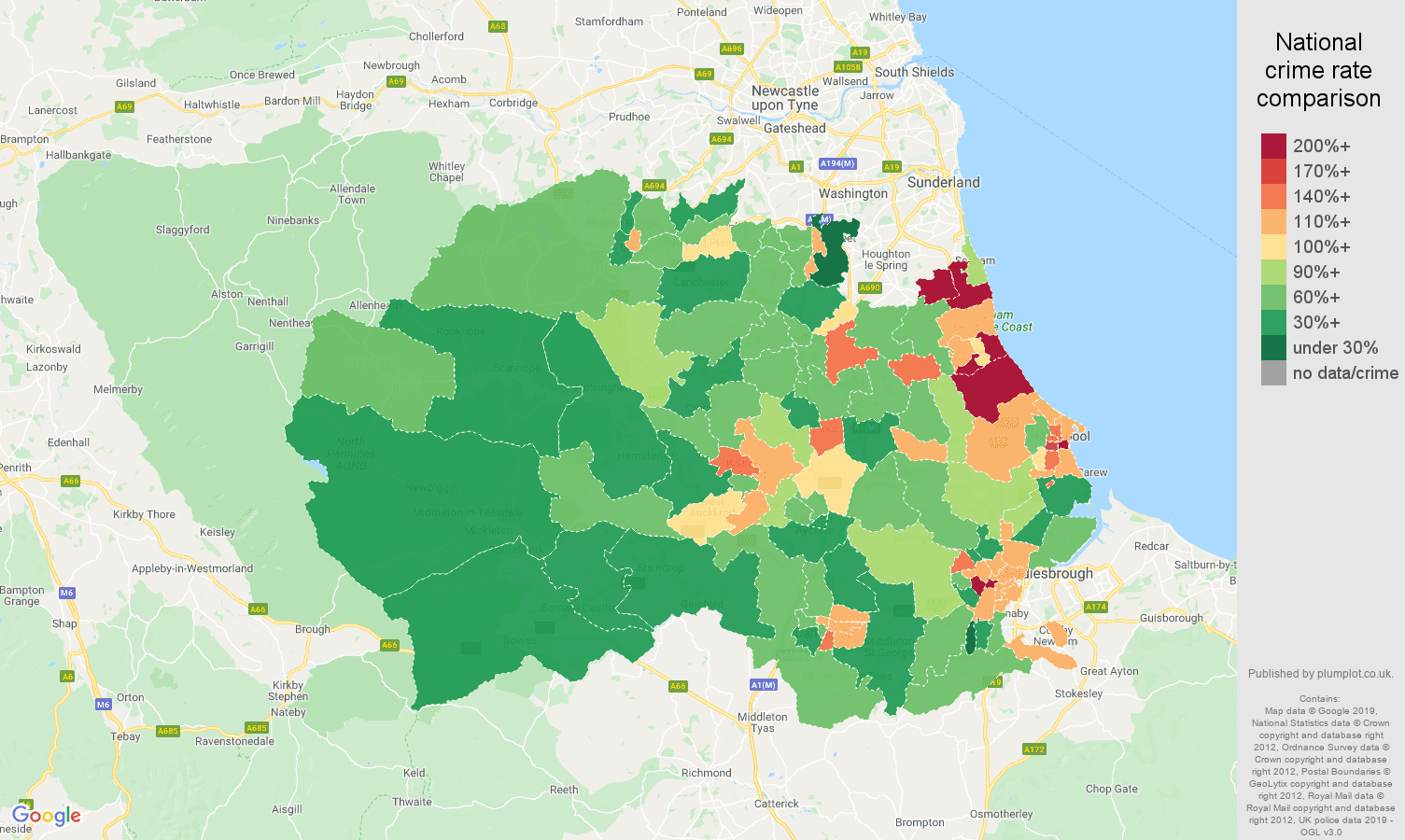 Durham county other theft crime rate comparison map