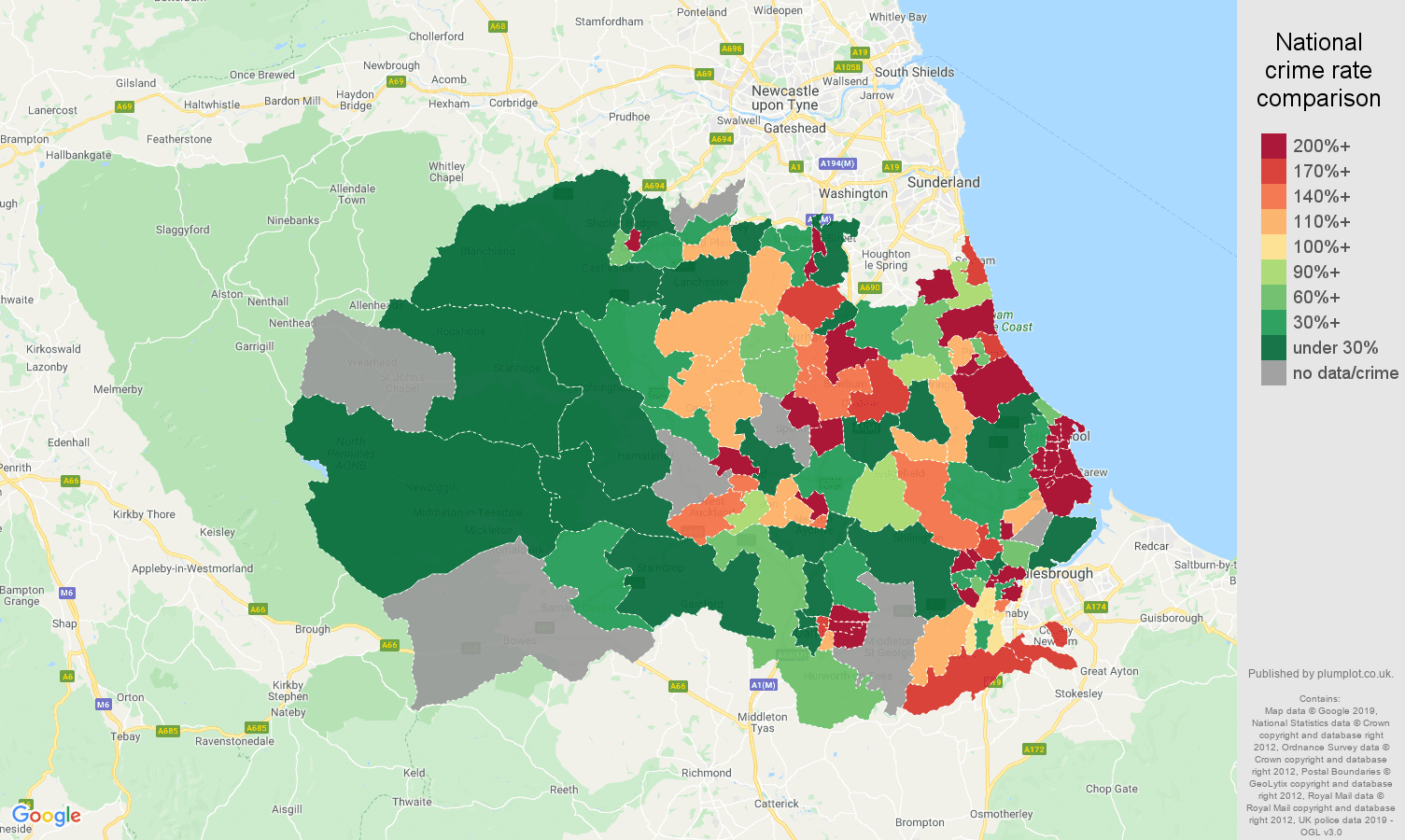 Durham county shoplifting crime rate comparison map