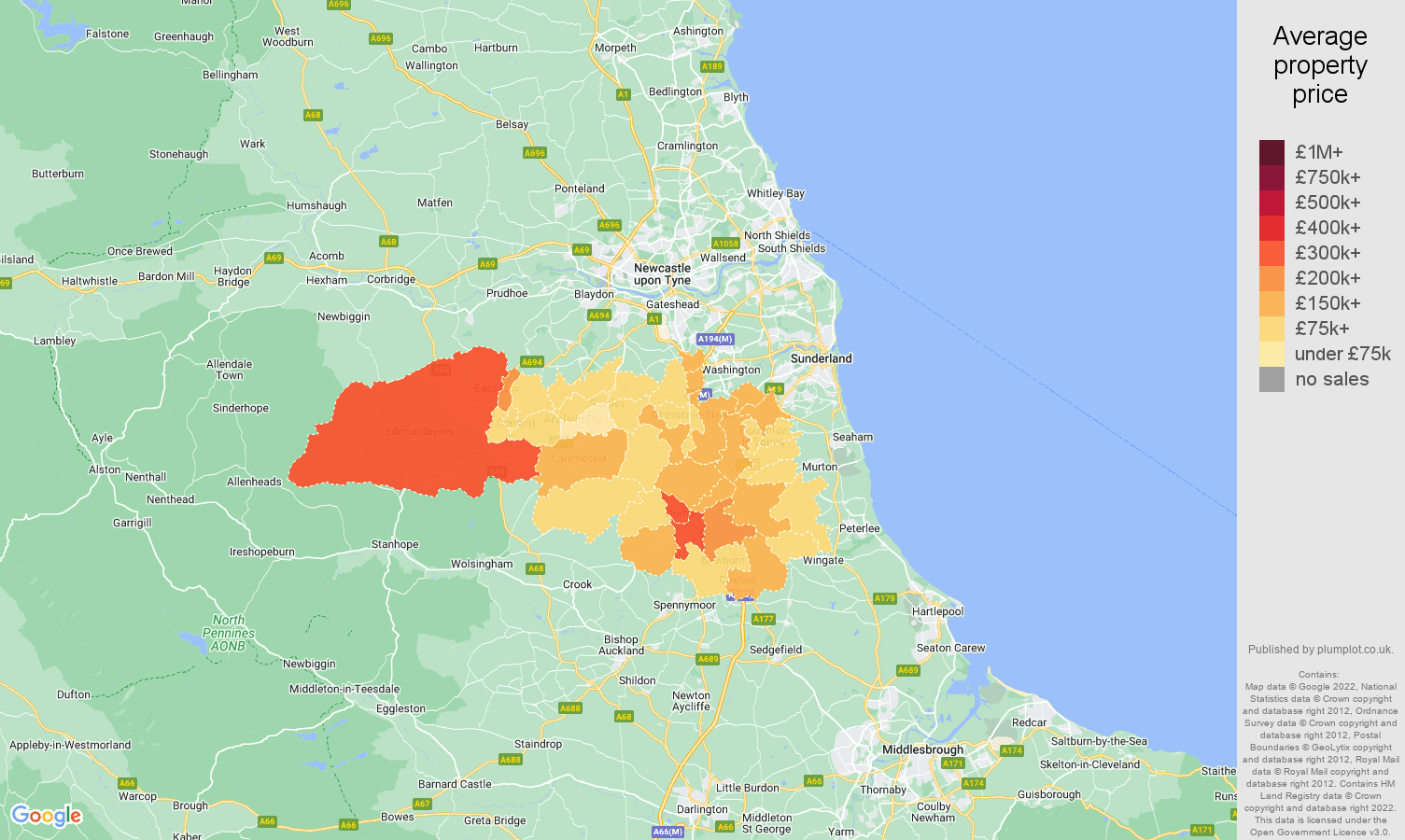 Durham house prices map