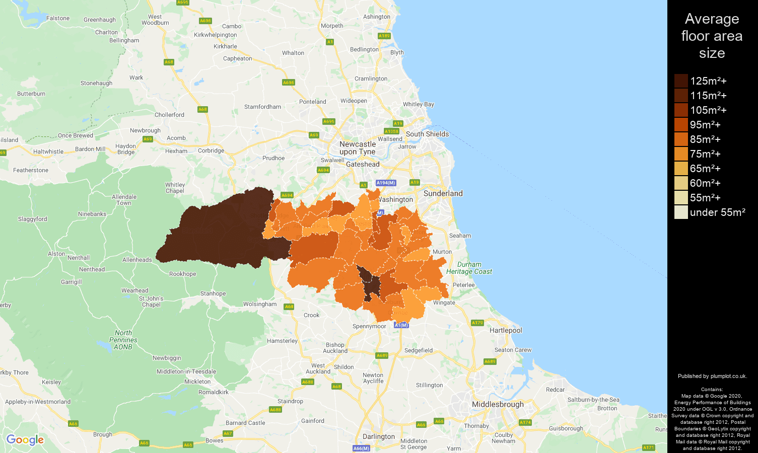 Durham map of average floor area size of houses