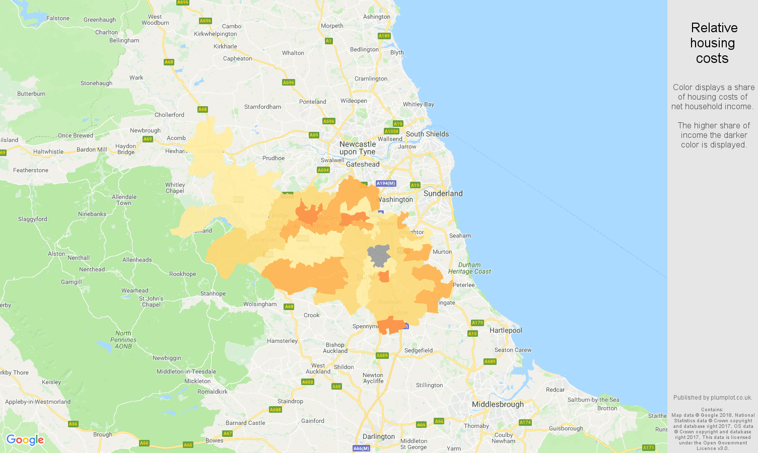 Durham relative housing costs map