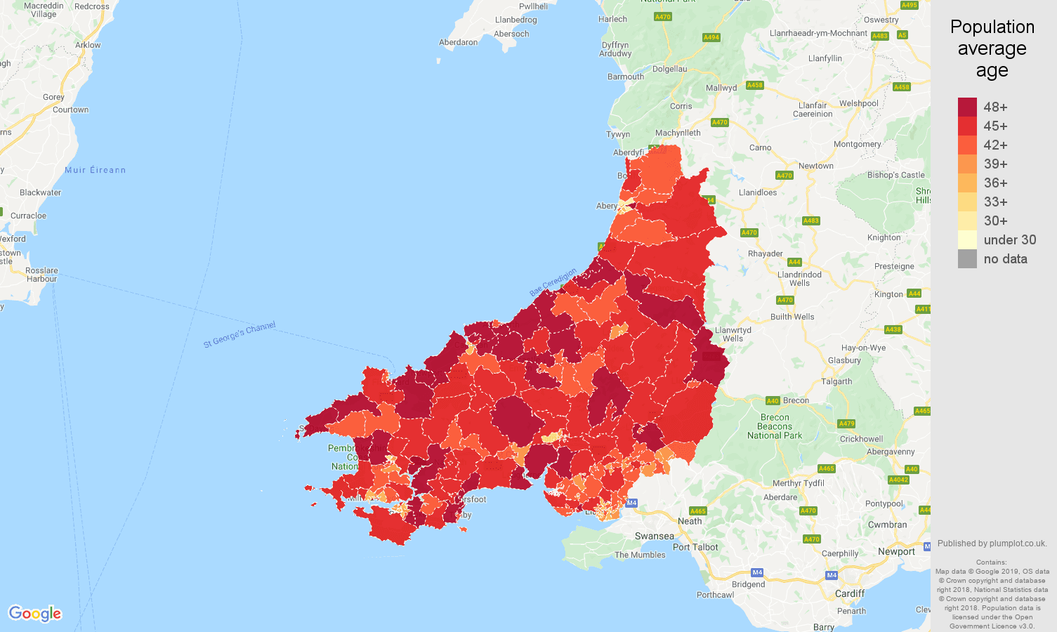 Dyfed population average age map