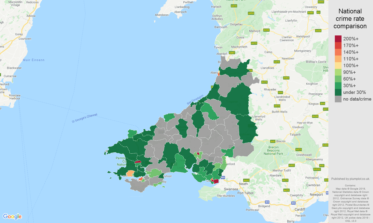 Dyfed shoplifting crime rate comparison map
