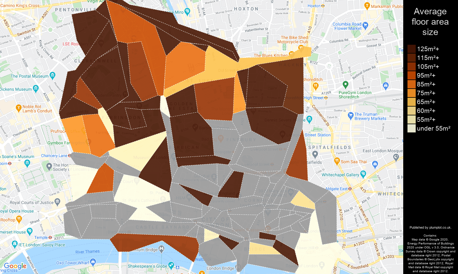 East Central London map of average floor area size of houses