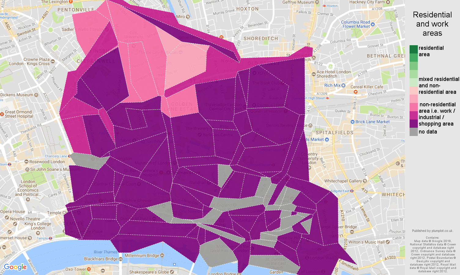 East Central London residential areas map