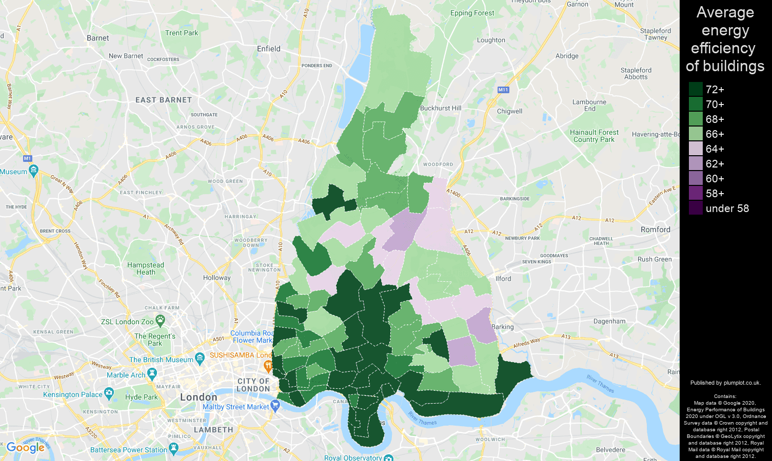 East London map of energy efficiency of flats
