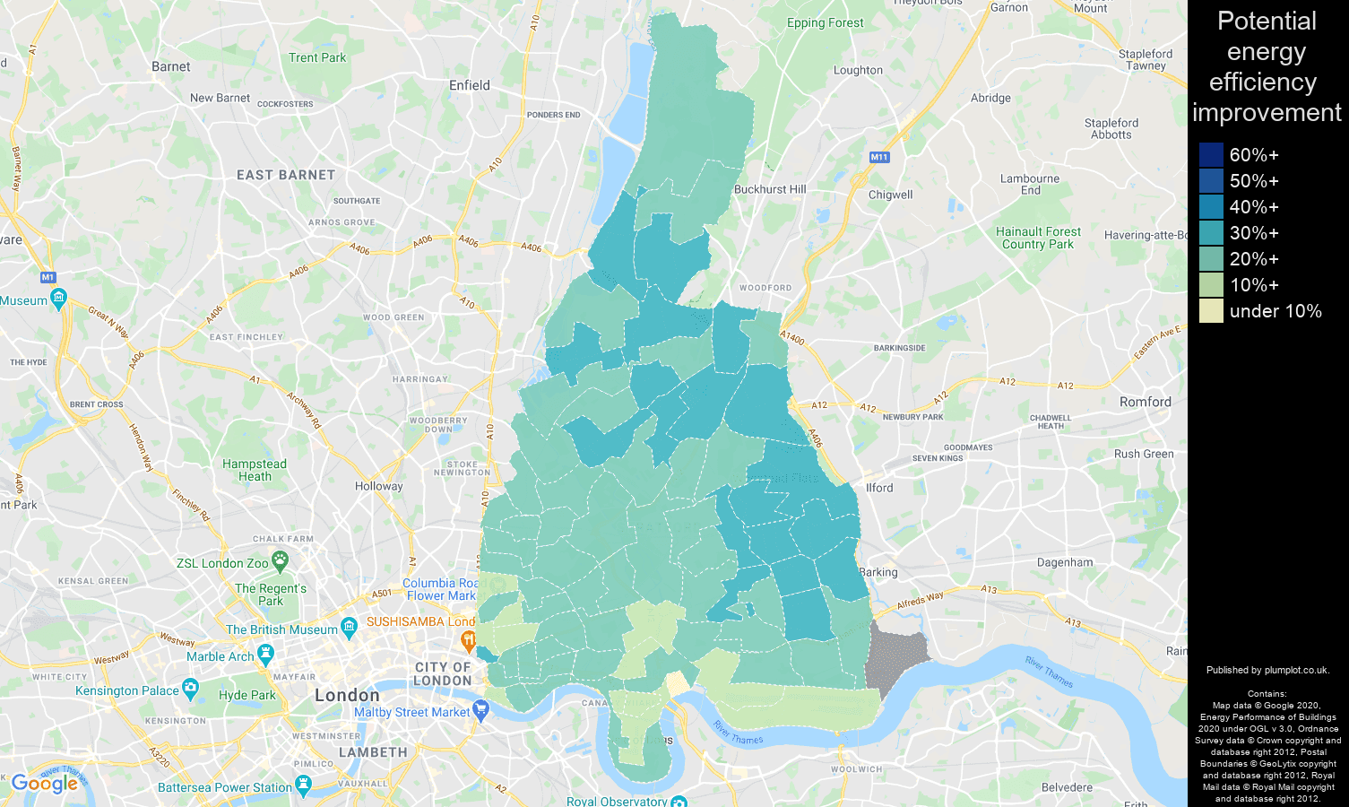 East London map of potential energy efficiency improvement of houses