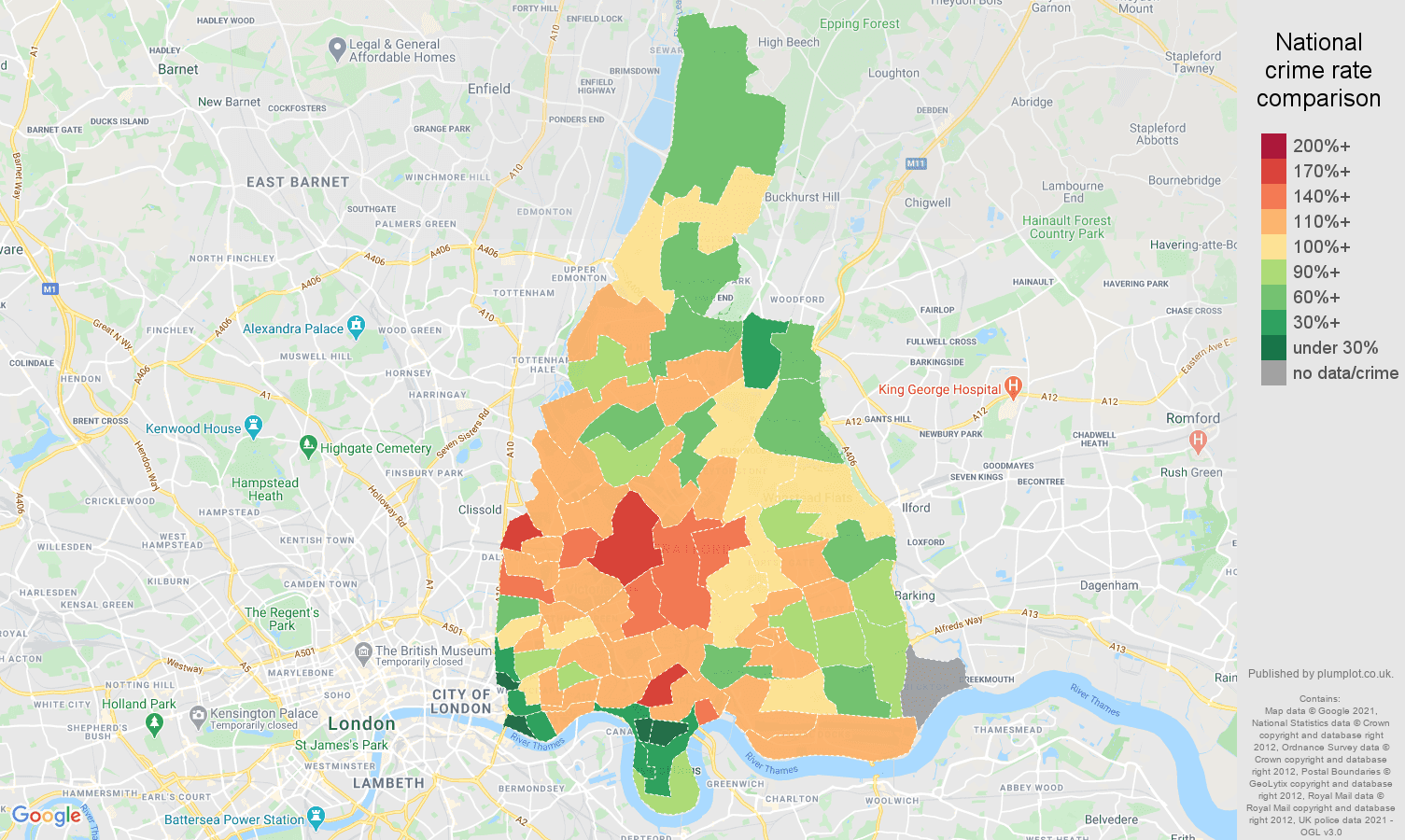 East London violent crime rate comparison map