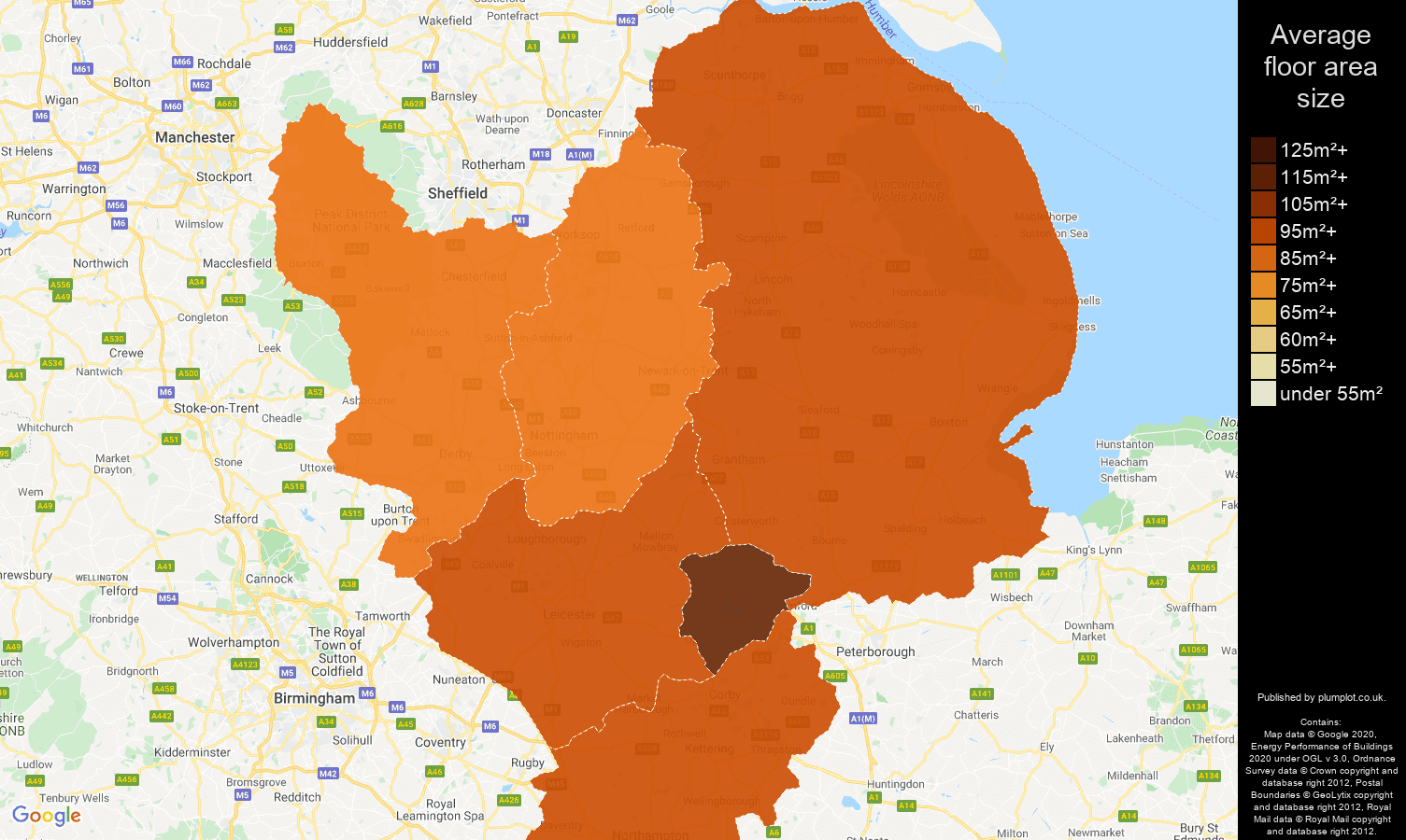 East Midlands map of average floor area size of houses