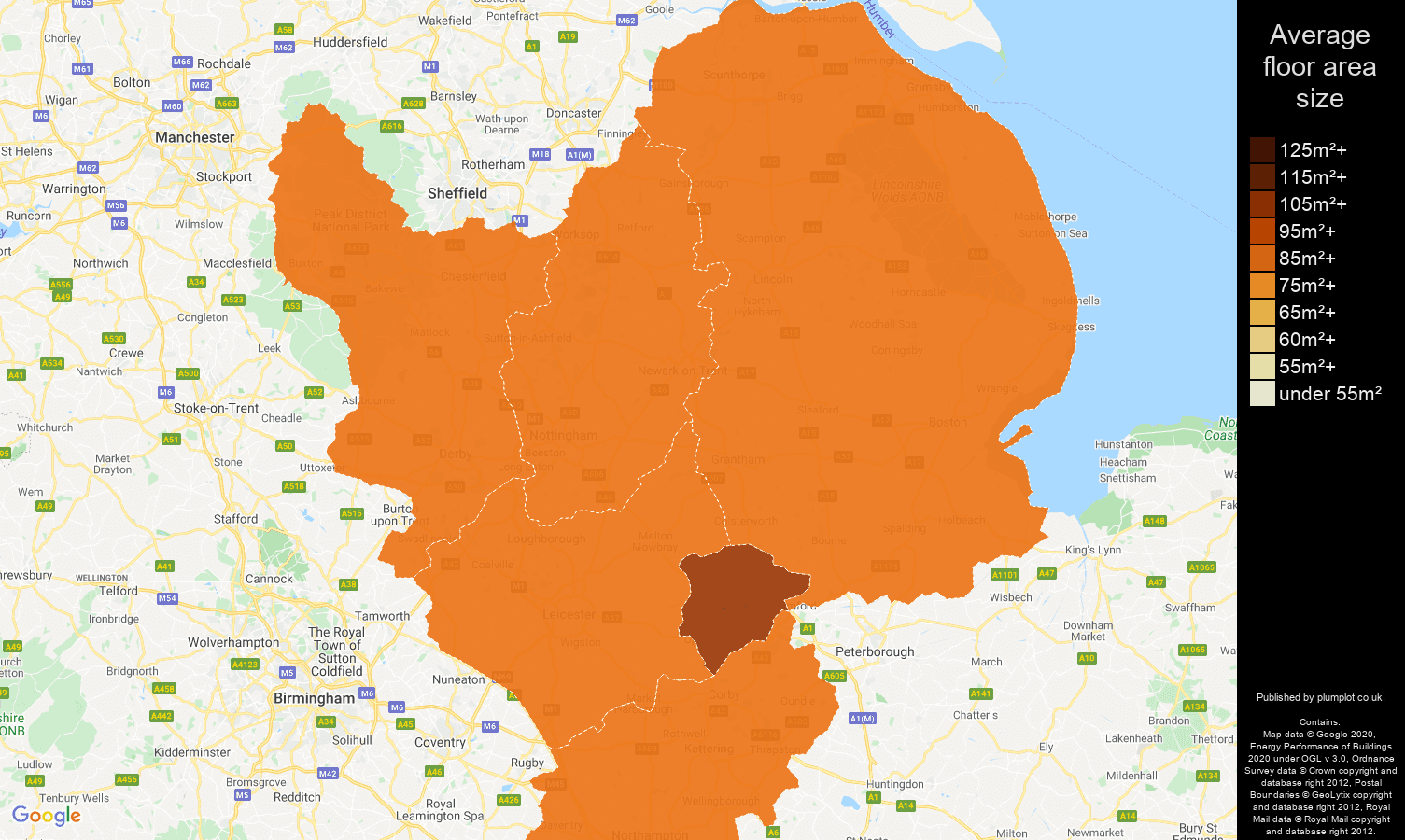 East Midlands map of average floor area size of properties