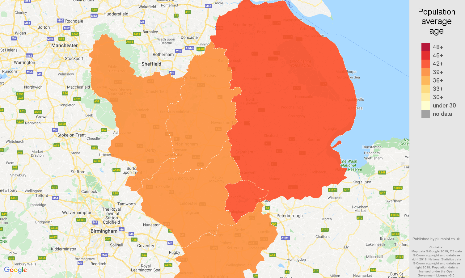 East Midlands population average age map
