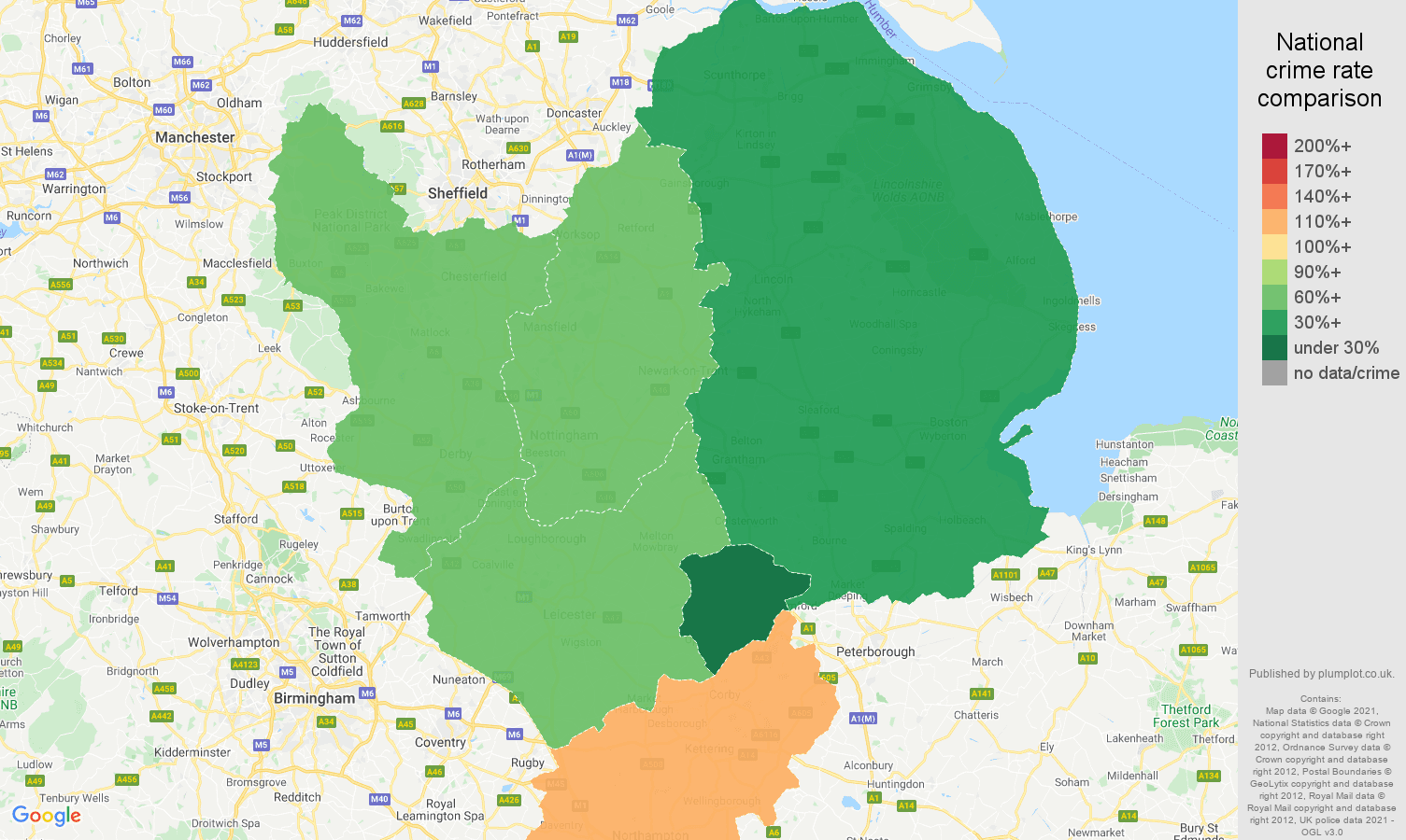 East Midlands robbery crime rate comparison map