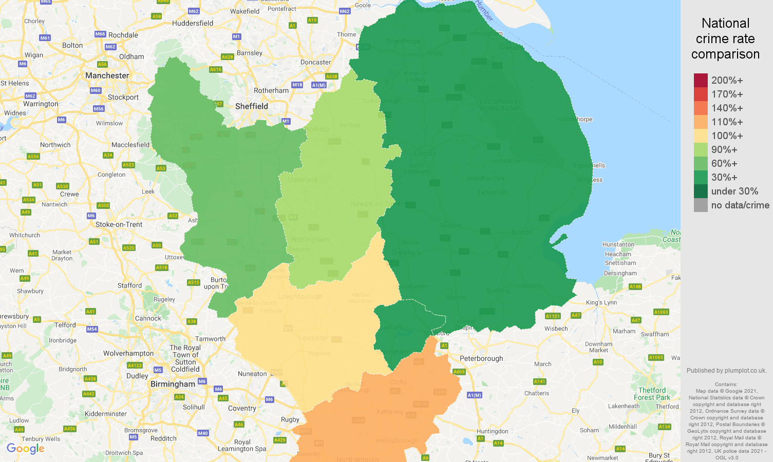 East Midlands vehicle crime rate comparison map