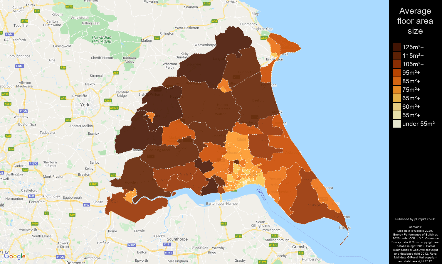 East Riding of Yorkshire map of average floor area size of properties