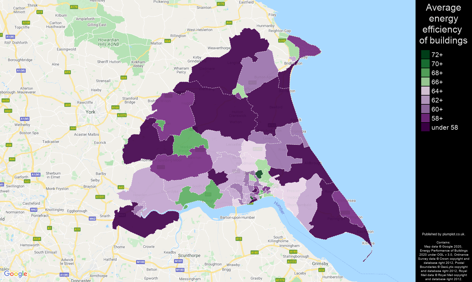East Riding of Yorkshire map of energy efficiency of properties