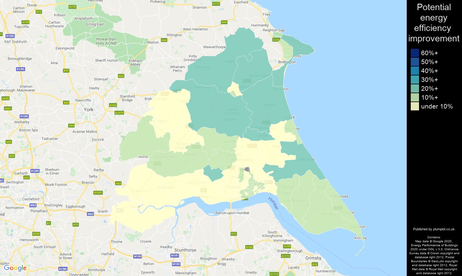 East Riding of Yorkshire map of potential energy efficiency improvement of flats