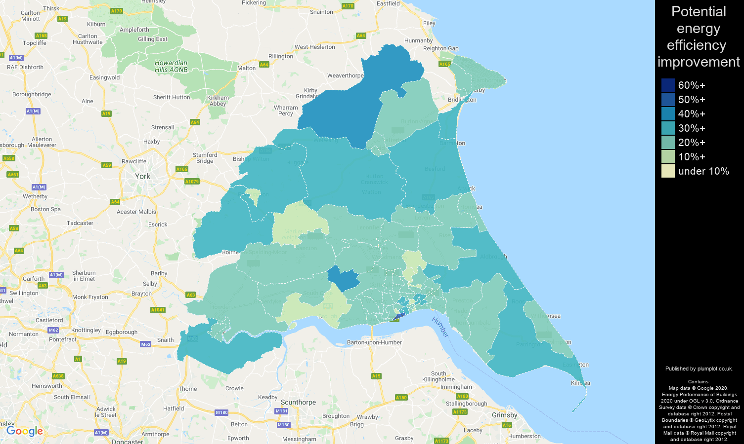 East Riding of Yorkshire map of potential energy efficiency improvement of houses