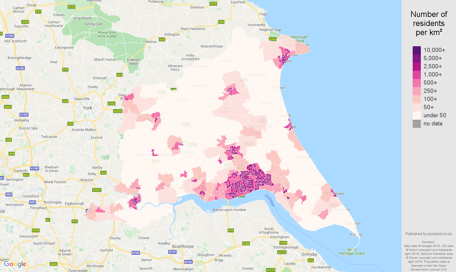 East Riding of Yorkshire population density map