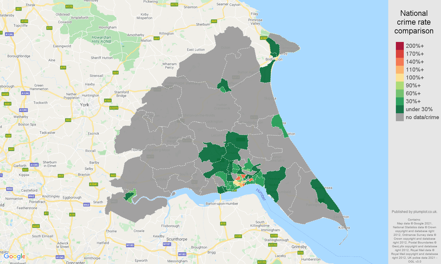 East Riding of Yorkshire theft from the person crime rate comparison map