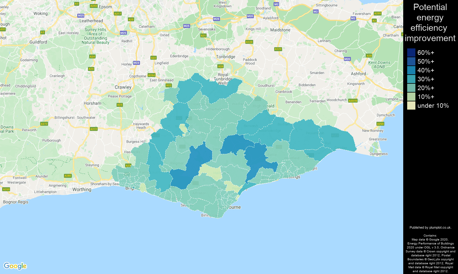 East Sussex map of potential energy efficiency improvement of houses