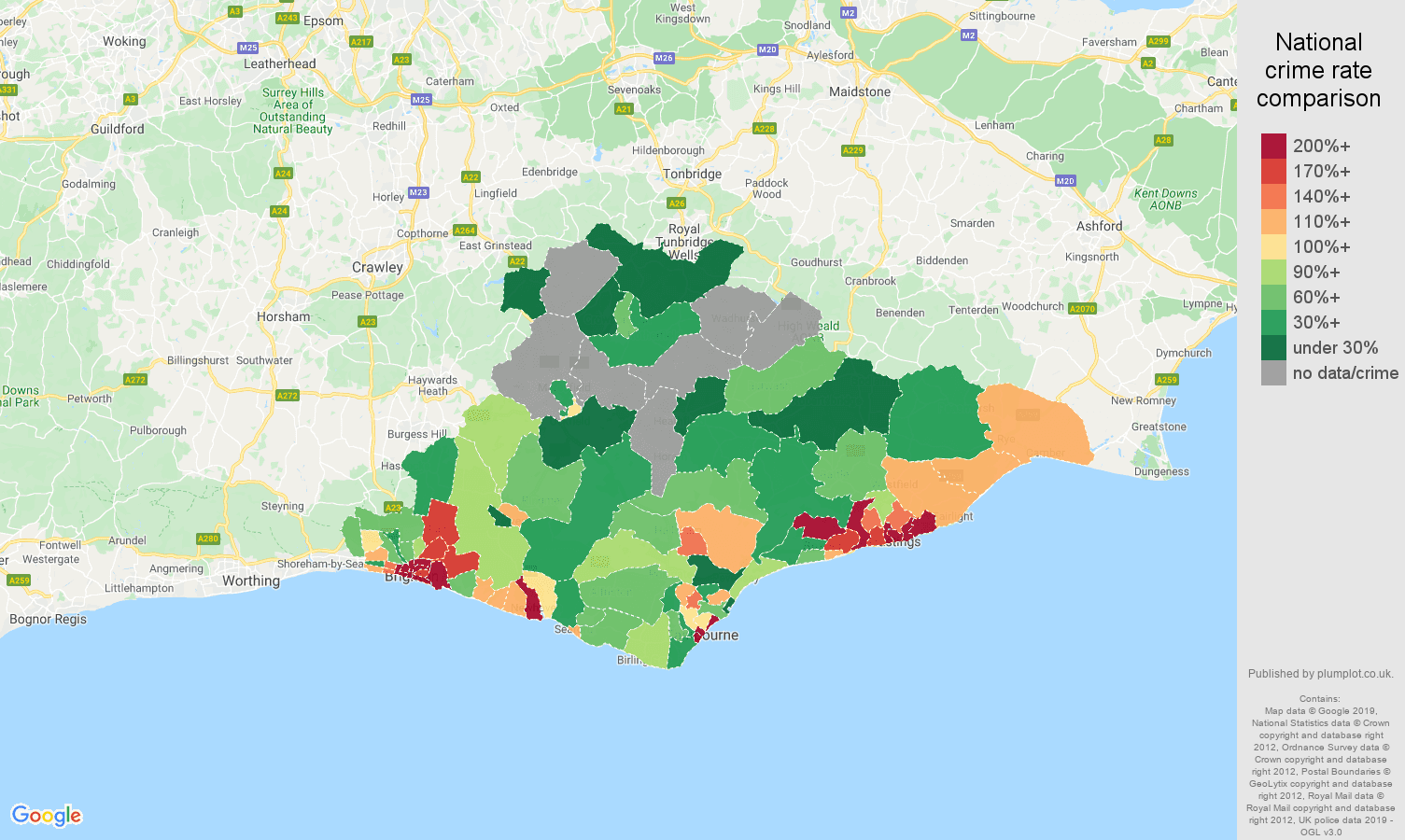 East Sussex possession of weapons crime rate comparison map