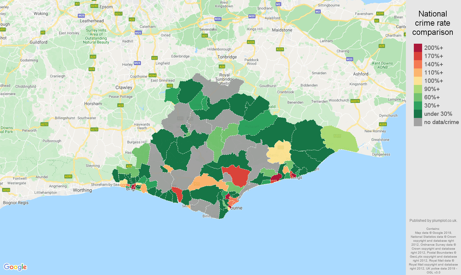 East Sussex shoplifting crime rate comparison map