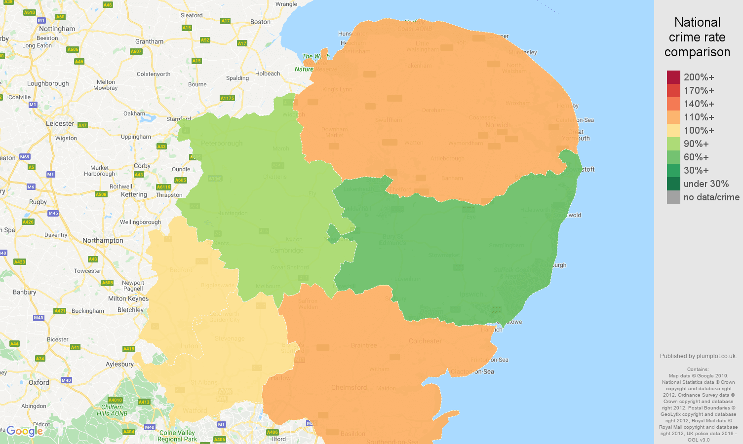 East of England other crime rate comparison map