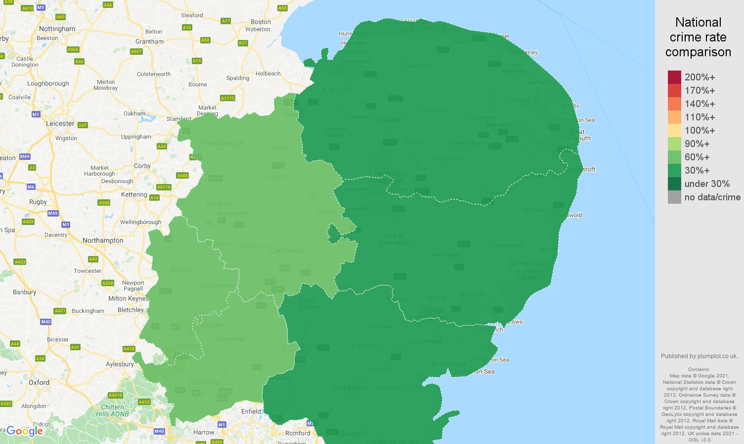 East of England theft from the person crime rate comparison map