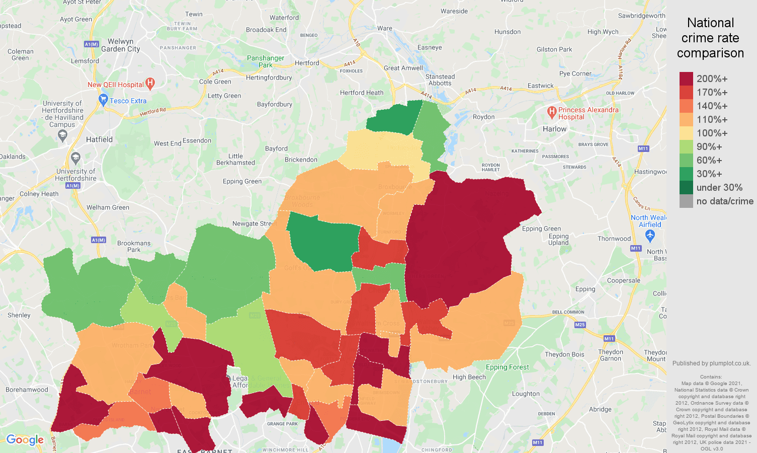 Enfield burglary crime rate comparison map