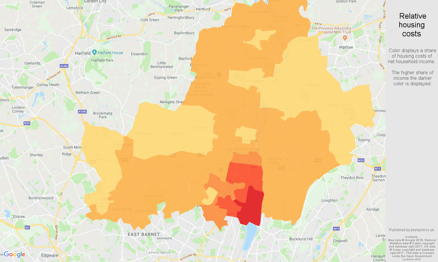 Enfield relative housing costs map