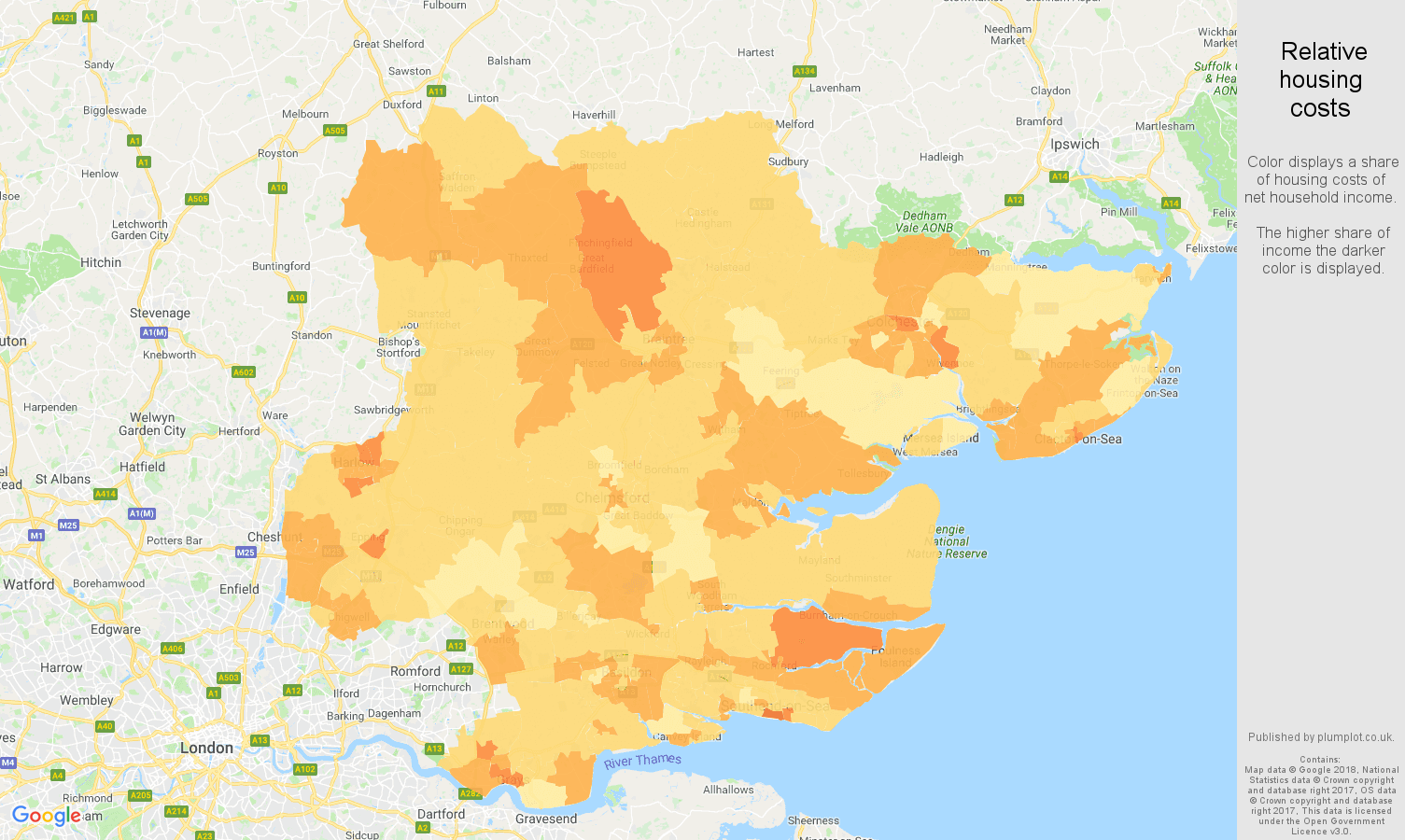Essex relative housing costs map