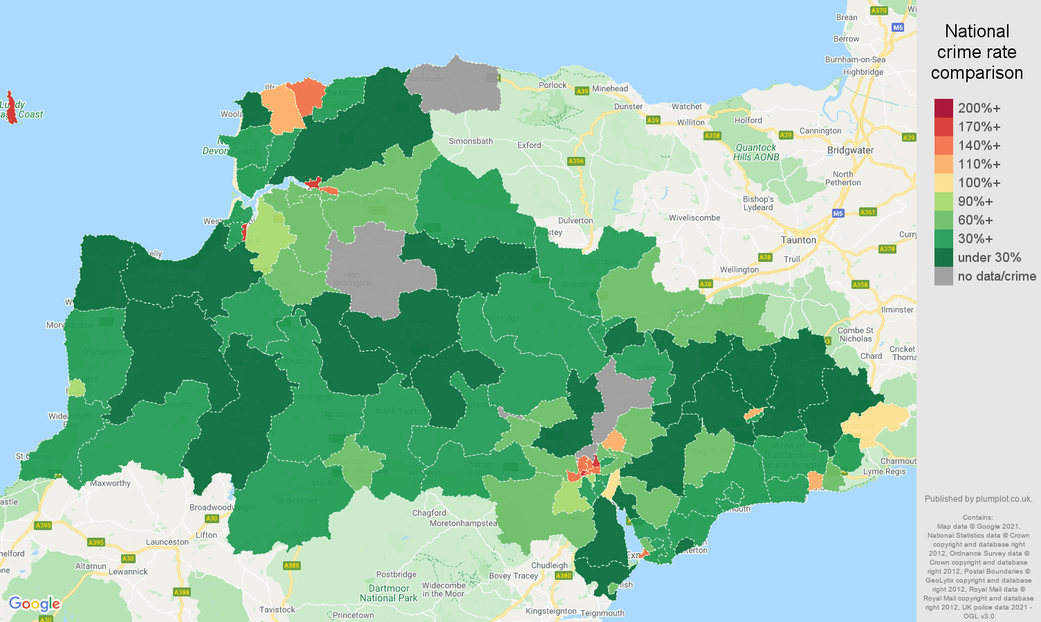 Exeter drugs crime rate comparison map