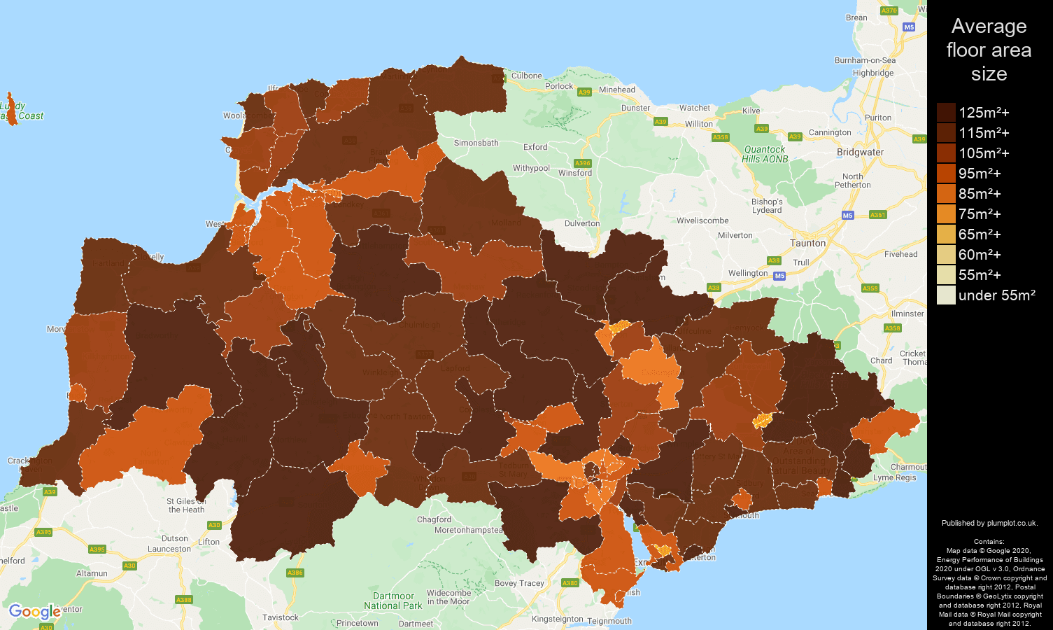 Exeter map of average floor area size of houses