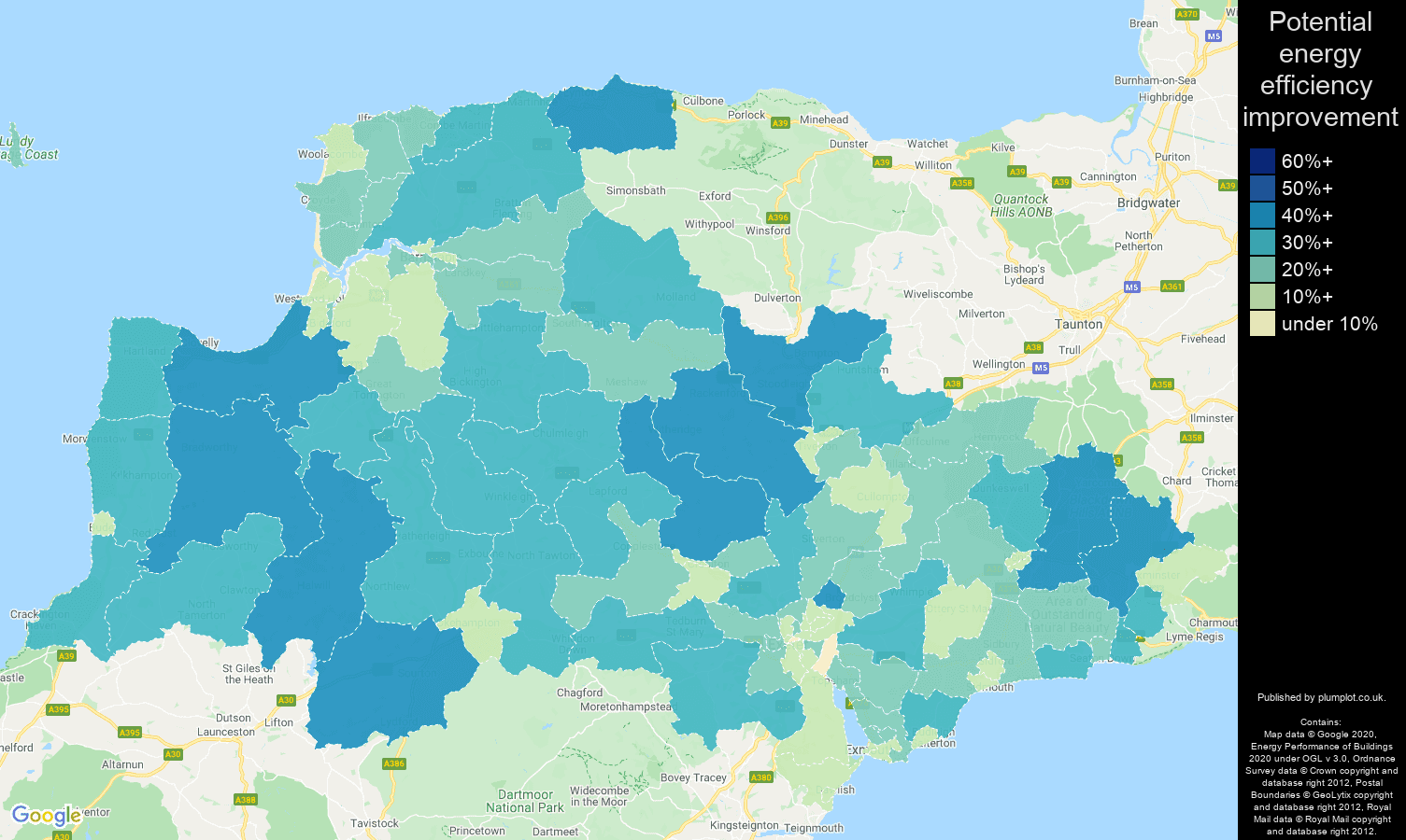 Exeter map of potential energy efficiency improvement of properties