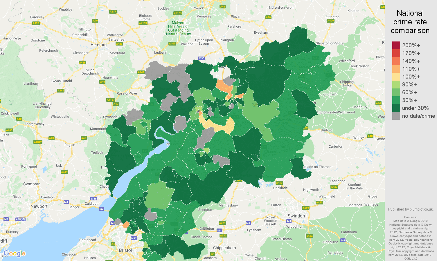 Gloucestershire other crime rate comparison map
