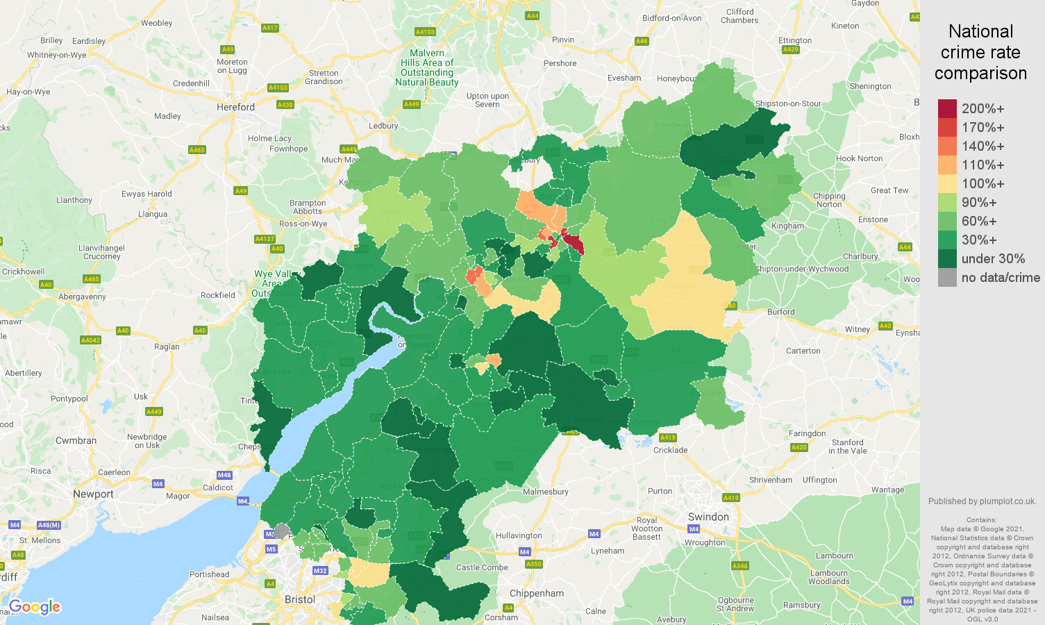 Gloucestershire vehicle crime rate comparison map
