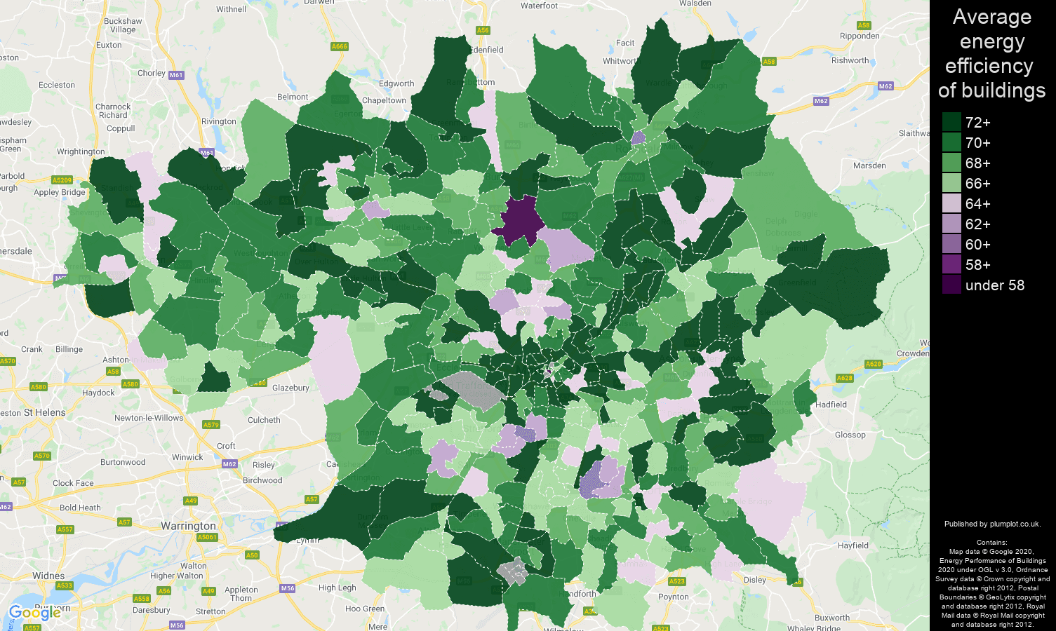 Greater Manchester map of energy efficiency of flats