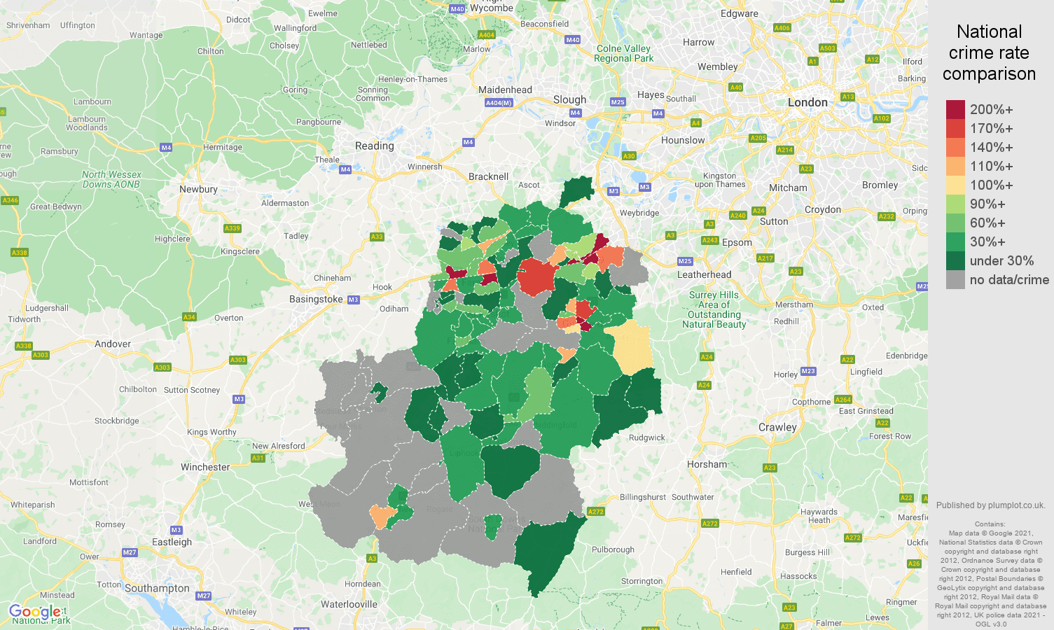 Guildford bicycle theft crime rate comparison map