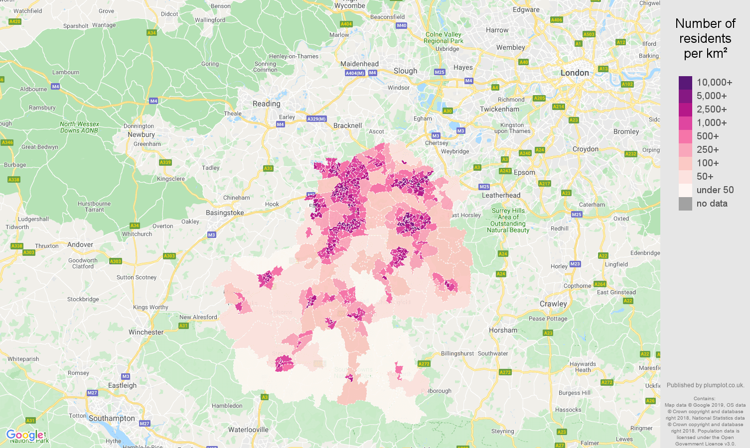 Guildford population density map