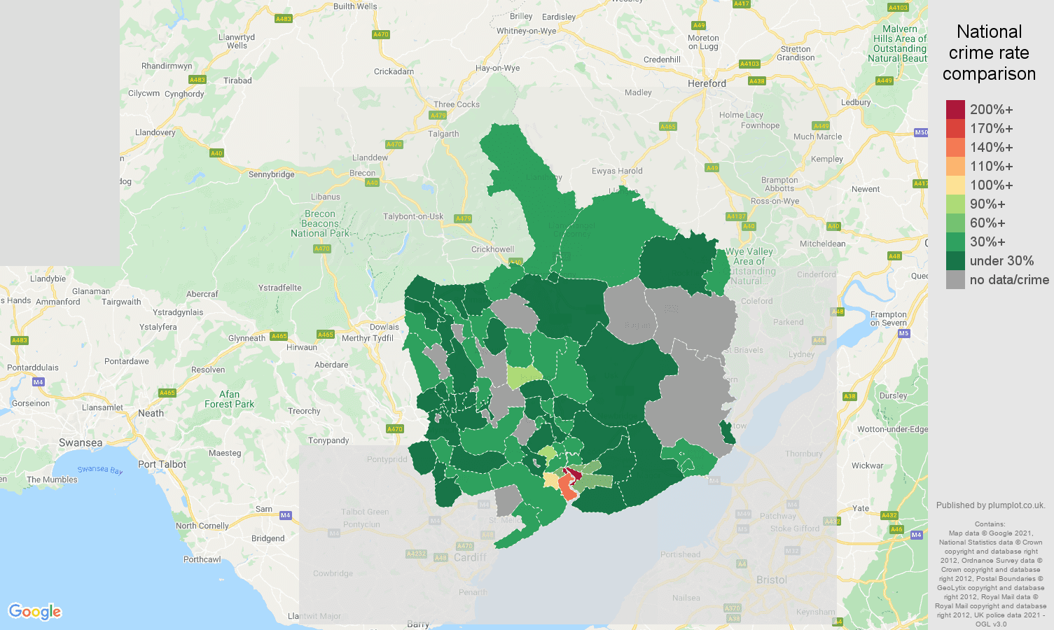Gwent bicycle theft crime rate comparison map