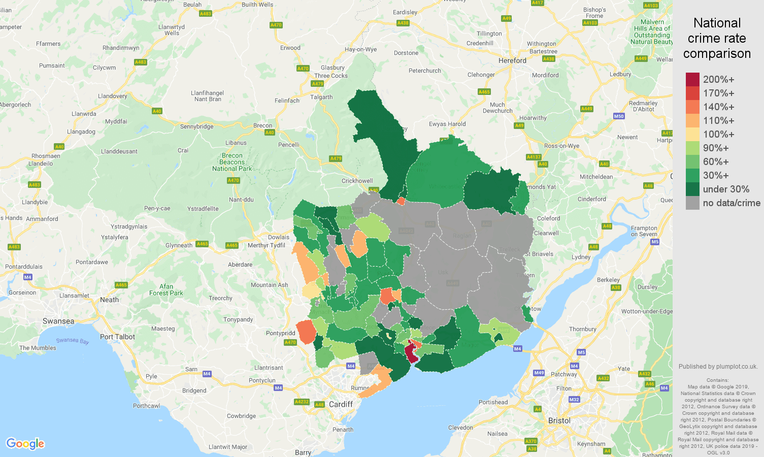 Gwent possession of weapons crime rate comparison map